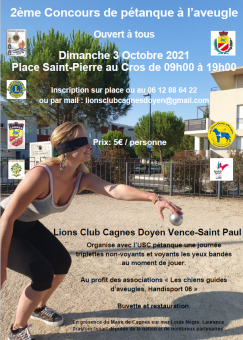 2e Open de Pétanque à l'Aveugle @ Cagnes sur Mer